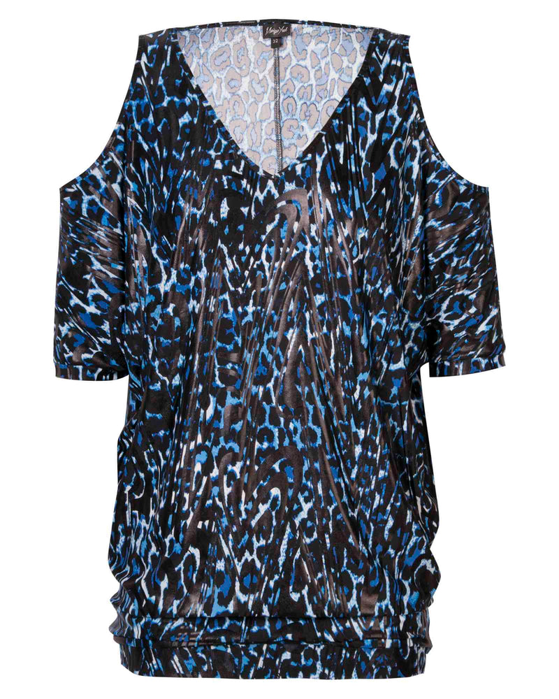 Cold Shoulder Tunic Top - Blue Animal