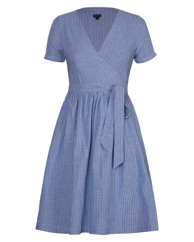 Woven Wrap Dress - Blue Stripe