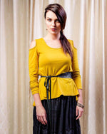 FACTORY STORE - Off Shoulder Frill Top - Mustard