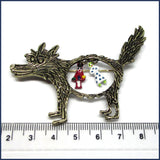 wolf brooch/project bag pin with ruler