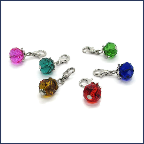 six colourful glass stitch markers