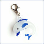 Blue Dolphin Glass Stitch Marker