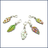 five colourful enamel leaf stitch markers