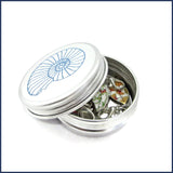 leaf stitch markers in ammonite tin