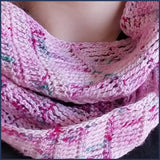 girl wearing pink crochet shawl