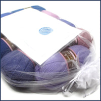 crochet blanket kit in an organza bag