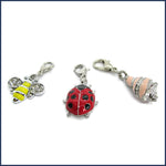 enamel bee, ladybird and hermit crab stitch markers