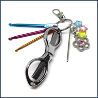 travel crochet kit with silver scissors