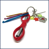 crochet travel kit with red scissors and mini crochet hooks