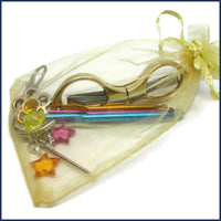 travel crochet kit in an organza bag