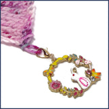 bunny stitch marker with crochet shawl