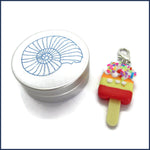 ice lolly clip-on stitch marker with aluminium tin