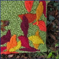 crochet cushion with leaves close up