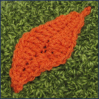 crochet leaf motif on a cushion cover