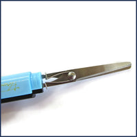 blue pen scissors closed