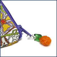 glass fruit clip-on stitch marker charm with project bag