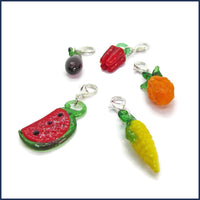 five glass fruit and vegetable clip-on stitch marker charms