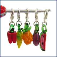 five fruit and veg clip-on glass stitch marker charms
