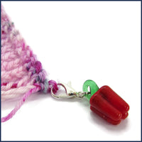 glass vegetable clip-on stitch marker charm with crochet