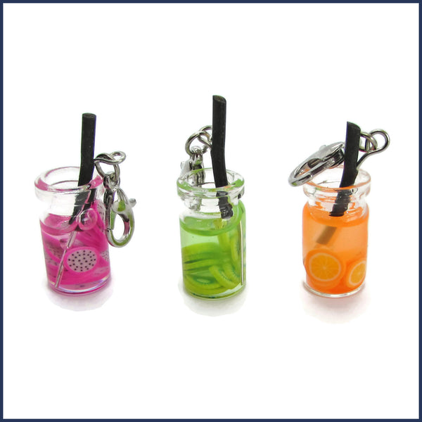 three fruit juice stitch marker charms