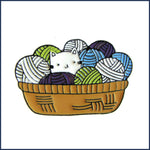 kitten in a basket of yarn badge pin