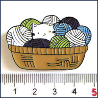 kitten in a basket of yarn badge pin with ruler