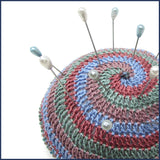 crochet pin cushion with pins