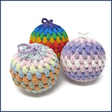 pale pink and purple Christmas crochet bauble