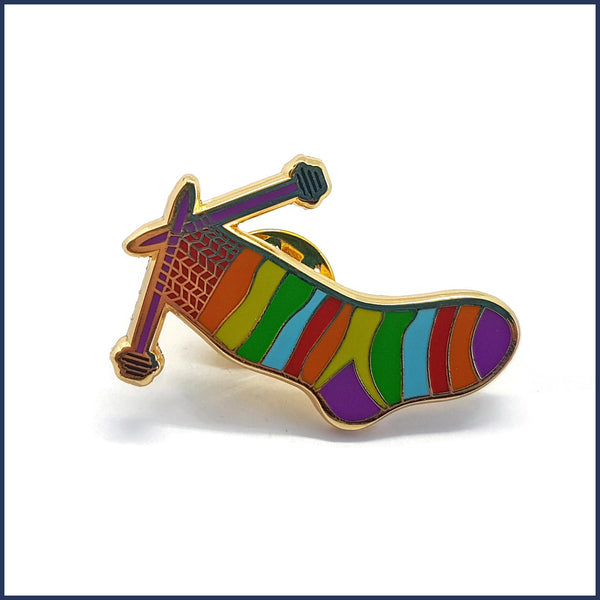 Sock Knitting Enamel Badge Pin