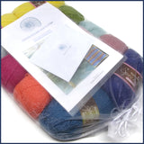 yarn kit in an organza bag