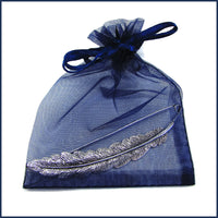 silver feather shawl pin/brooch in a blue organza bag