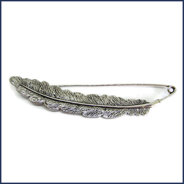 silver feather shawl pin/brooch
