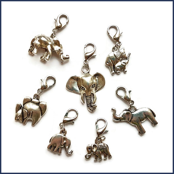 Silver Elephants Stitch Marker Set