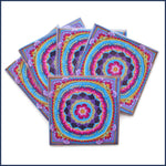 five crochet themed cards with Sophie's Garden motif