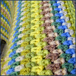 stripey crochet blanket close up