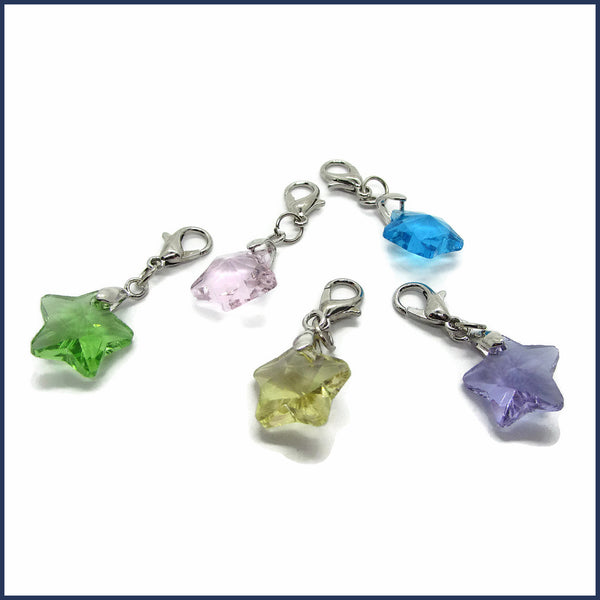 five glass star stitch markers