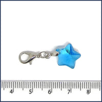 blue glass star stitch marker with crochet