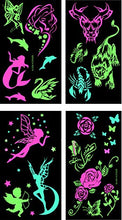 Premium Glow in the Dark Tattoos Glowing Temporary Tattoo Shimmer Gold Temporary Fake Jewelry Fluorescent Tattoos 4 Sheets - Ebb & Flow Enterprises