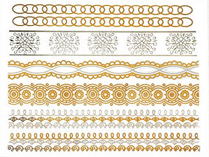 Henna Inspired Temporary Metallic Tattoos - Over 75 Designs (6 Sheets) Gold and Silver Terra Tattoos Dawn Collection - Ebb & Flow Enterprises