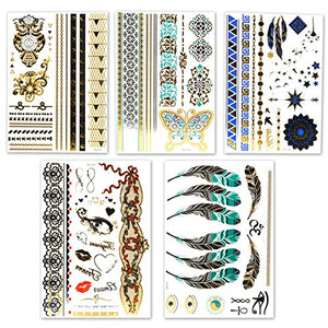 Lady Up Temporary Tattoos Super Cool 150+ Designs Metallic Waterproof Henna Tattoo Stickers Decals (20 sheets) for Kids, Teens, Women & Men Body Art Painted 148×210mm - Ebb & Flow Enterprises