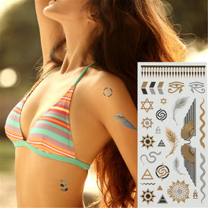 Good pattern Metallic Gold Tattoo Silver Waterproof Temporary tattoos Stickers on the body women Flash Tattoo Stickers men - Ebb & Flow Enterprises