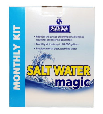 "Salt Water Magic by Natural Chemistry maintains pool water for one month.  A light, blue stripe on the left side of the box has ""Monthly Kit"" vertically written in white lettering.  The brand's logo is blue and centered at the box's top.  Below the logo, it states this product reduces causes of common maintenance for salt chlorine generators and treats 20,000 gallons of water providing crystal, clear sparkling water.  A blue water wave is behind the wording Salt Water Magic with blue and yellow lettering."