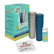 "The FROG @ease Inline Starter Kit is a bluish-green box and contains four items:  a gray cylinder that says @ease smartchlor"" , blue @ease cylinder, a small, white bottle containing @ease test strips and a small white pouch that says ""jump start"" in red lettering. The remaining sides of the box are colored bluish green, have the ""FROG @ ease"" logo, usage instructions and description of FROG's smartchlor technology."