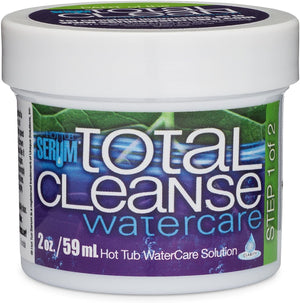 "Serum Total Cleans Watercare comes in a small, white container.  The label's background has green leaf veins on top; the bottom half is solid purple. The upper left of the label says ""Hot Tub Serum"" in a tiny, light blue font with ""Total Cleanse"" centered in white.  ""Water care"" is in light blue beneath ""Total Cleanse"".  Below this, white lettering says ""2oz"" and ""hot tub water care solution"".  A light green stripe is vertically on the right side of the label and says ""Step one of two"" in white lettering."