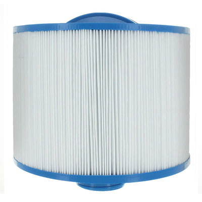 This bullfrog filter is a cylinder with a thin blue casing on the top and bottom of the filter.  The top casing has a plastic, small, blue arch centered and protruding from the top.  This protrusion helps gripping and twisting the filter.  The center part of the cylinder is packed full of vertical, white, paper pleats to allow water filtration.  The bottom casing of the filter is a thin, blue plastic like the top.  In the center of the bottom casing is a short, threaded cylinder for attaching the filter.