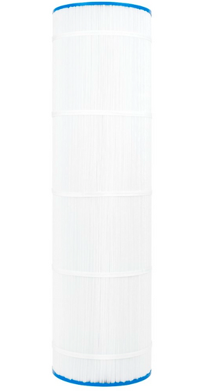This CS250 filter is cylinder-shaped with a thin blue, plastic casing on the top and bottom of the filter.  The top casing is made of a thin, blue plastic with a hole  centered on the top.  The majority of the center part of the cylinder is packed full of vertical, white, paper pleats which are banded together with 3-5 paper belts.  The bottom casing of the filter is a thin, blue plastic like the top with a hole in the center of the casing.