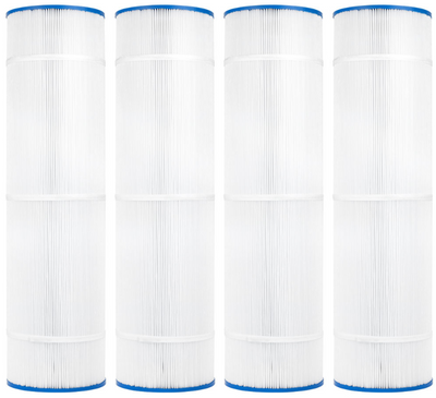 This CV340 filter is cylinder-shaped with a thin blue, plastic casing on the top and bottom of the filter.  The top casing is made of a thin, blue plastic with a hole centered on the top.  The majority of the center part of the cylinder is packed full of vertical, white, paper pleats which are banded together with a few thin, paper belts.  The bottom casing of the filter is a thin, blue plastic like the top with a hole in the center of the casing.  This item is only sold in packs of four.