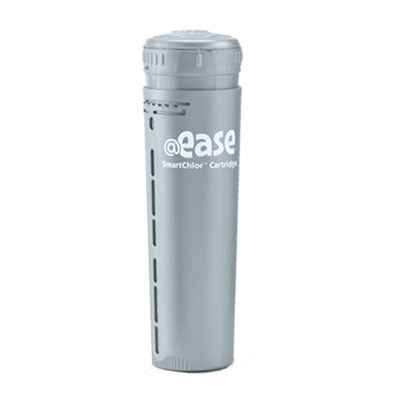 "The FROG @Ease In Line SmartChlor Cartridge is a single, gray, cylinder shaped bottle.  The top of the cylinder has small, vertical protrusions around the cap for twisting.  The gray cylinder says ""@ease smartchlor cartridge"" "" in white lettering.  The gray cylinder has linear, vertical holes down the side for slow dissemination of the smartchlor. Inside the cylinder are the smartchlor contents."