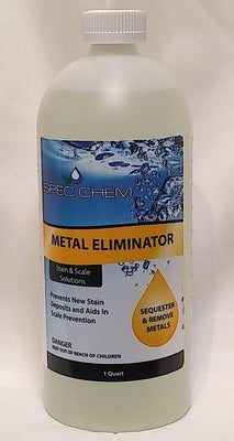 "Metal Eliminator by Spec Chem comes in a 1 quart bottle.  The label's background has dark blue bubbles at the top and light blue at the bottom.  Black, capital letters on the orange stripe mid-bottle reads ""metal eliminator"".  Below this, small caps letters read  ""prevents new stain deposits and aids in scale prevention"".   The label's right side, below the stripe, is an orange droplet that says ""Sequesters and removes metals"".  Remaining label space gives a warning."