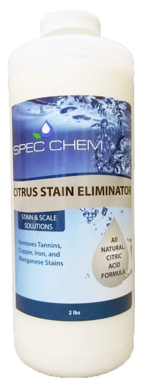 "Citrus Stain Eliminator by Spec Chem comes packaged in a 2 pound bottle with the label's background fading from dark blue bubbles at top to light blue below.  ""Citrus Stain Eliminator"" is written in black, capital letters on the yellow stripe mid-bottle.  Below the stripe, small capital letters read  ""stain and scale solutions"" with several metals listed.  A yellow droplet on the right side of the bottle says ""all natural citric acid formula"".  Warnings and ingredients are listed on the label's rear."